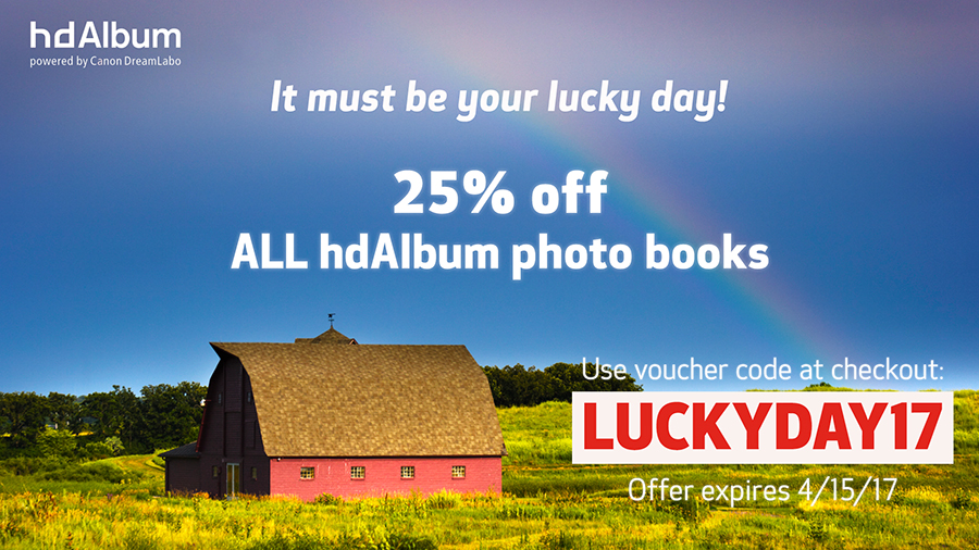 use code luckyday17 for 25% off all photo books